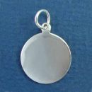 Round Small Engravable Sterling Silver Pendant Engraving Area Size 18-mm Diameter