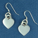 Heart Small High Polished Engravable Sterling Silver French Wire Earrings