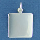 Square Small Engravable Sterling Silver Pendant Engraving Area Size 18 mm