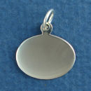 Oval Horizontal Small Engravable Sterling Silver Pendant Engraving Area Size 14-mm High by 18-mm Wide
