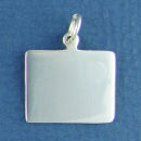 Rectangle Horizontal Small Engravable Sterling Silver Pendant Engraving Area Size 16-mm High by 20-mm Wide