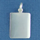 Rectangle Vertical Small Engravable Sterling Silver Pendant Engraving Area Size 20-mm High by 16-mm Wide