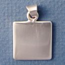 Square Medium 20 mm Engraved Sterling Silver Pendant Personalized Jewelry