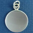 Round Medium 22mm Engraved Sterling Silver Pendant Personalized Jewelry