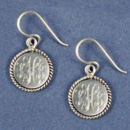 15mm Round Disk Engravable Sterling Silver Earring with Rope Edge