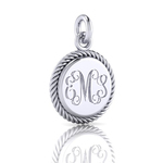 Sterling Silver Engraved Charm Round 15mm Diameter with Rope Edge