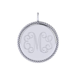 20mm Round Disk Engravable Sterling Silver Pendant with Rope Edge