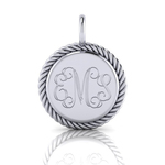 Sterling Silver Engraved Charm with Rope Edge 15mm