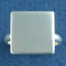 Square 14-mm Engravable Plate Sterling Silver Ring