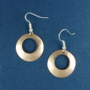 Round Copper Small Polished with Large Accent Hole French Wire Earrings