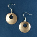 Round Copper Earrings Small Hammered Engravable with Small Accent Hole French Wires