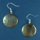 Round Chocolate Copper Small Hammered Engravable French Wire Earrings