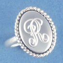 Vertical Oval Engravable Disk with Rope Accent Sterling Silver Ring