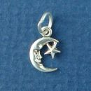 Moon and Star Sterling Silver Mini Charm Pendant
