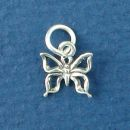 Butterfly with Open Wings Tiny Sterling Silver Charm Pendant