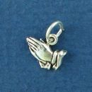 Praying Hands Tiny Sterling Silver Charm Pendant