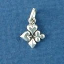 Playing Card Symbols Hearts, Spades, Diamonds and Clubs Tiny Sterling Silver Charm Pendant