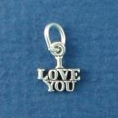 I Love You Word Phase Sterling Silver Mini Charm Pendant