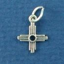 Cross Charm Southwest Plain Sterling Silver Indian Charm Pendant
