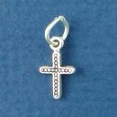 Cross Charm with Bead Design Sterling Silver Pendant
