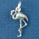 Flamingo Bird Sterling Silver Charm Pendant
