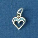 Heart Charm Small with Inlay Sterling Silver Indian Charm Pendant