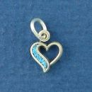 Heart Charm with Inlay Small Sterling Silver Indian Charm Pendant