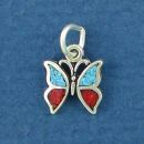Butterfly with Inlay Tiny Sterling Silver Charm Pendant