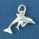 Dolphin with Calf Tiny Sterling Silver Charm Pendant