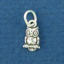 Owl Bird Sterling Silver Mini Charm Pendant
