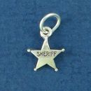 Sheriff's Star Badge Tiny Sterling Silver Charm Pendant