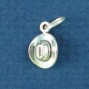 Cowboy Hat Tiny 3D Sterling Silver Charm Pendant