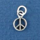 Peace Sign Charm Sterling Silver Tiny Pendant