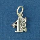 #1 Mom Sterling Silver Tiny Charm Pendant