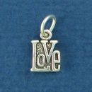 Love Word Phrase Small Sterling Silver Charm Pendant