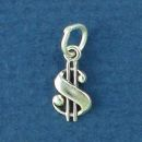 Dollar Sign Tiny Sterling Silver Charm Pendant