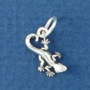 Gecko Lizard Tiny 3D Sterling Silver Charm Pendant