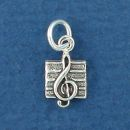 Treble Clef Music Note Sterling Silver Tiny Charm Pendant