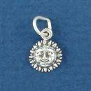 Sun Face Tiny Sterling Silver Charm Pendant
