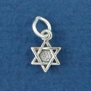 Star of David Tiny Sterling Silver Charm Pendant