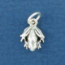 Frog Tiny 3D Sterling Silver Charm Pendant