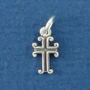 Cross Charm Tiny Sterling Silver Pendant