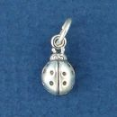 Lady Bug Charm Tiny Sterling Silver Pendant