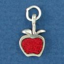 Apple with Inlay Sterling Silver Mini Charm Pendant
