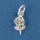 Rose Flower Sterling Silver Mini Charm Pendant
