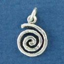 Swirl Small Sterling Silver Charm Pendant