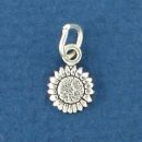 Sunflower Tiny Sterling Silver Charm Pendant