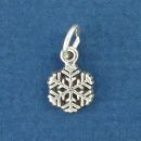 Snowflake Tiny Sterling Silver Charm Pendant