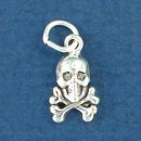 Skull and Crossbones Tiny Sterling Silver Charm Pendant