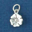Poppy Flower Tiny Sterling Silver Charm Pendant